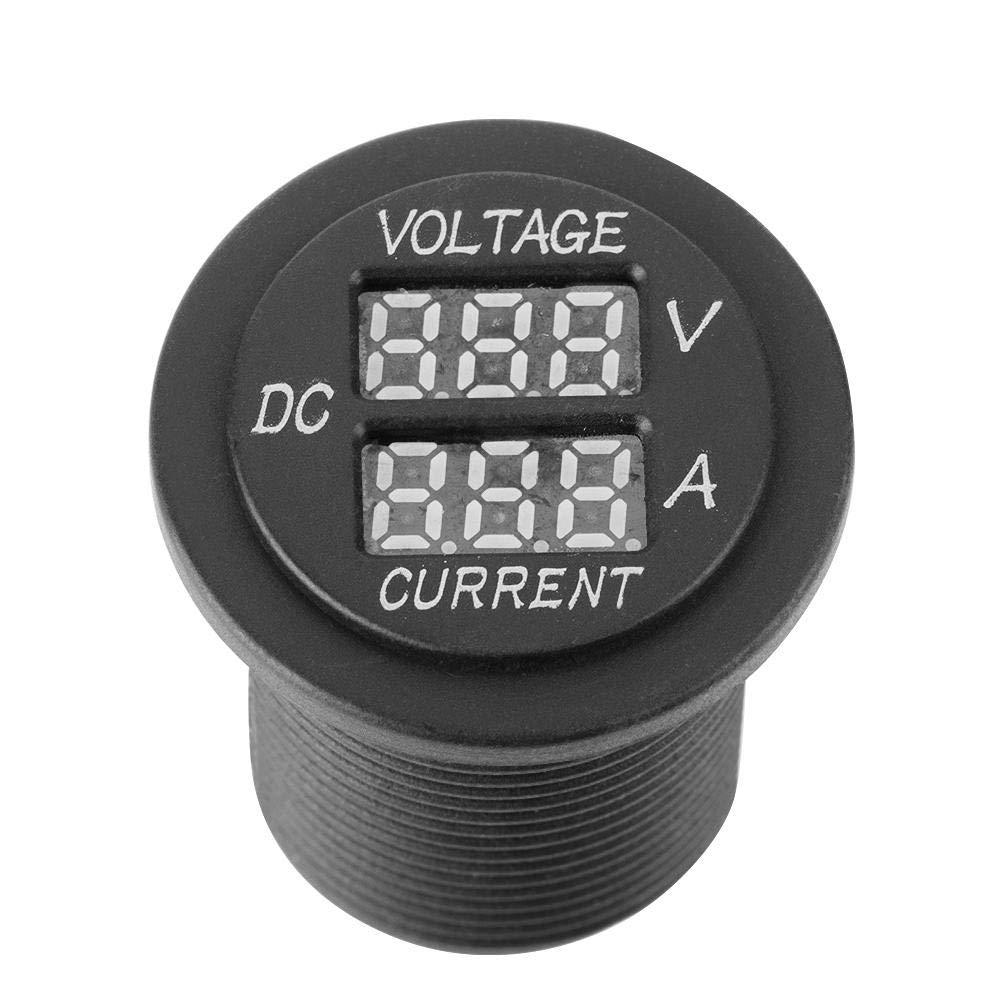 amperometro digitale a LED Voltmetro misuratore di corrente tonda per barca moto auto Voltmetro a LED