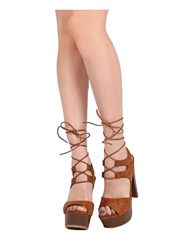 b59dfbd488f Alrisco Women Faux Suede Peep Toe Platform Block Heel Ankle Tie Sandal HB28  - Camel Faux