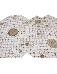 Ivory Designer Hand Beaded Table Top Linens Set Fine Zardozi Embroidered Luxury Tablecloths Runner Placemats 48 Inch X 48 Inch