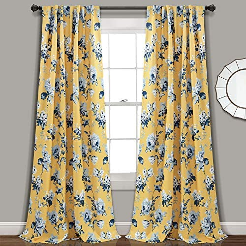Lush Decor, Yellow and Blue Tania Curtains Floral Garden Room Darkening Window Panel Set for Living, Dining, Bedroom Pair , 108 x 52, 108 x 52