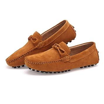 2018 Mocasines Zapatos para Hombre Decoración de Nudo de Lazo de los Hombres Mocasines Casuales de Cuero Genuino del Ante Mocasines (Color : Marrón, ...