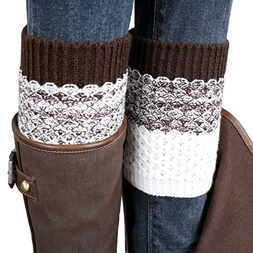 Fullkang Women Leg Warmers, Winter Jacquard Knitted Mixed Color Socks Boot Cover (Brown)