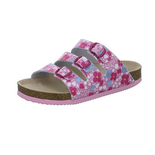 AFS-Schuhe 1133, Bequeme Mädchen Pantoletten, Echtes, Hochwertiges Leder Größe 35 Weiß (Weiß)