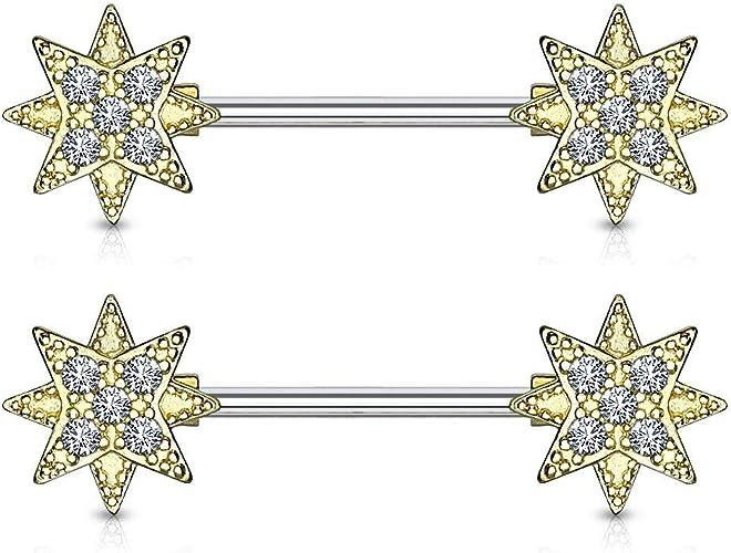 PAIR of Gem Paved Stars Dangle Nipple Ring 14g 9//16 Barbells//Shields 14mm