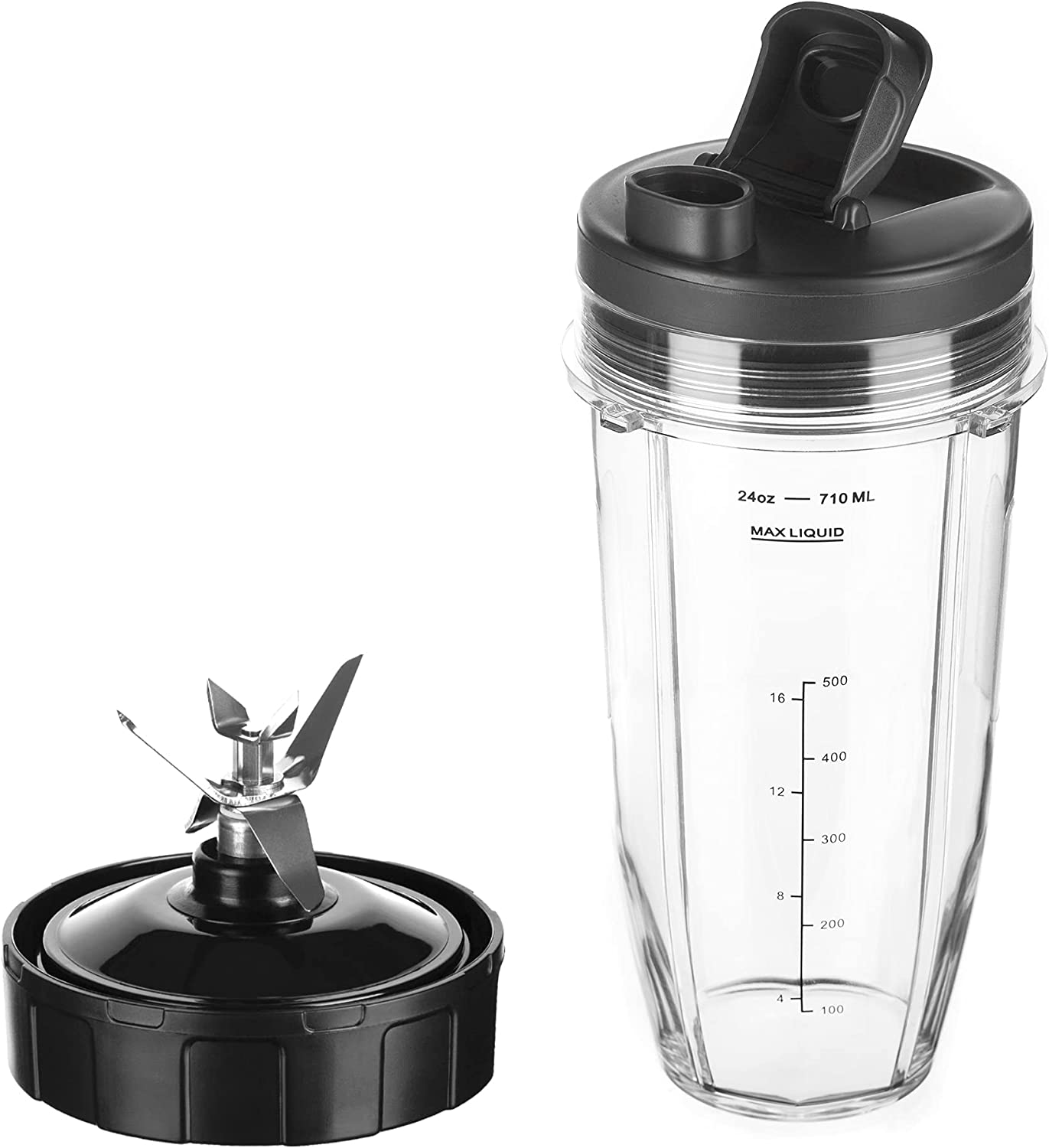 Replacement 7-Fins Blade & 24 oz Cup with Sip and Seal Compatible with Nutri Ninja Auto IQ Blenders: BL682-30 BL642-30 BL450-30 BL482-30 BL687CO-30 ect.