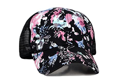 c1be4a0ea83 Qunson Junior s Flower Print Mesh Trucker Baseball Cap Hat at Amazon  Women s Clothing store