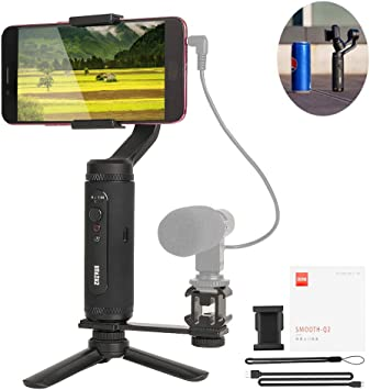 APP Controls for Time-Lapse 8H Run-Time Tracking,Tripod Stand 3-Axis Handheld Gimbal Stabilizer Mini-S Essential Foldable Phone Gimbal