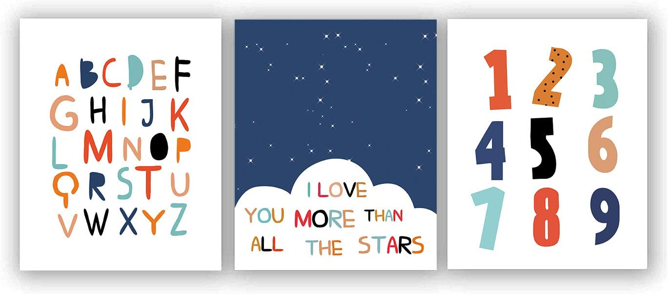 "Watercolor Alphabet Numbers Inspirational Quote Art Painting Set of 3 (8""X10"" Canvas Picture), Enlightenment Words Print Black Starry Sky Wall Art Poster for Nursery or Kids Room Home Decor,No Frame"