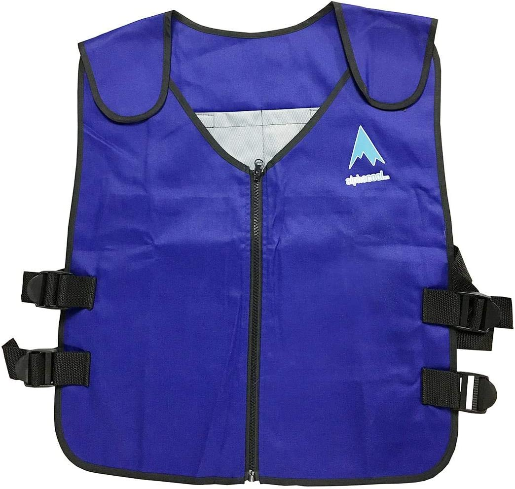 Alphacool Arctic Ice Vest for Men and Women – Adjustable Cooling Vest with Ice Packs Replacement – Four Discreet Pockets Inside – One Size Fits All – Blue