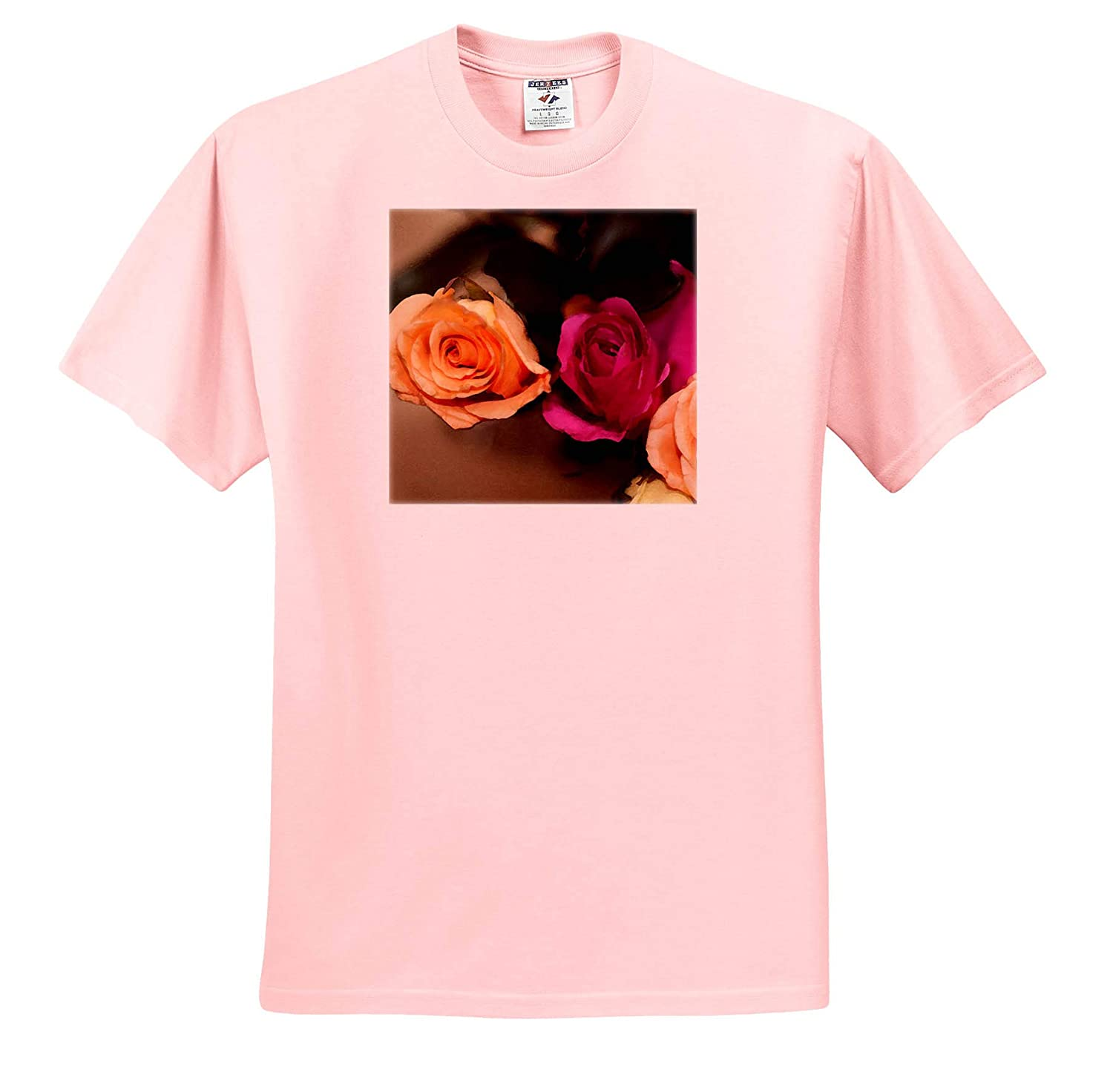 Adult T-Shirt XL ts/_309251 Peach and Fuchsia Roses Done in a Digital Watercolor 3dRose Jos Fauxtographee- Fresco Roses