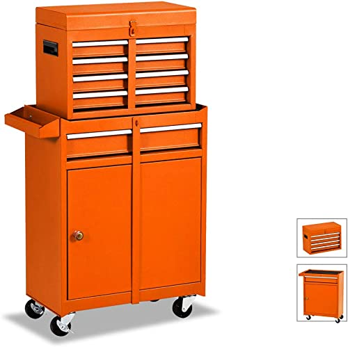 Large 5-Drawer Rolling Tool Chest -Metal Tool Box Organizer With Wheels and Drawers – Tool Cabinets and Storage For Garage Workshop Orange