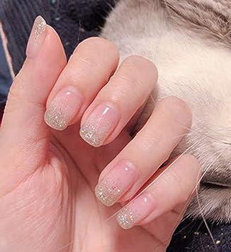Brishow - Juego de 24 uñas postizas de acrílico con purpurina ...