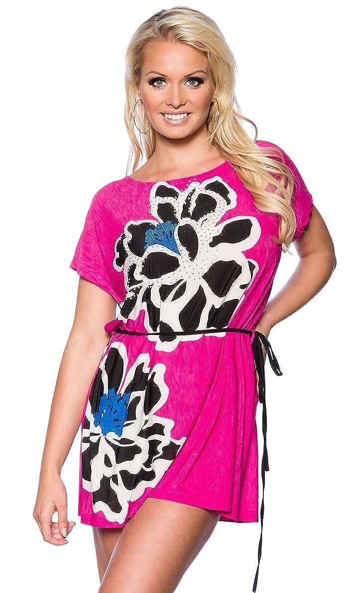 at Strand-Tunika Malibu mit Strass Strand Shirt Sommerkleid Minikleid Strandkleid Bademode in 6 Farben