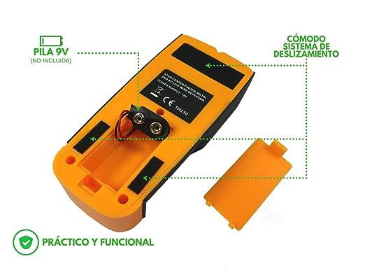 Detector de Pared Detector de Metal, Madera, Cables conductores y cobre - buscador de pernos Escáner de Pared Profesional Retroiluminación LCD, aviso sonoro ...