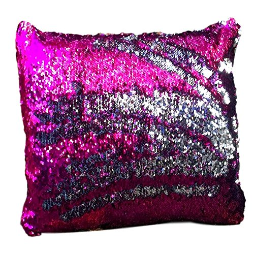 "Magic Mermaid Sequin Home Decorative Throw Pillow Cover 16"" x 16"" - Sequins Front and Back (Silver & Magenta) (Magenta Pillow)"