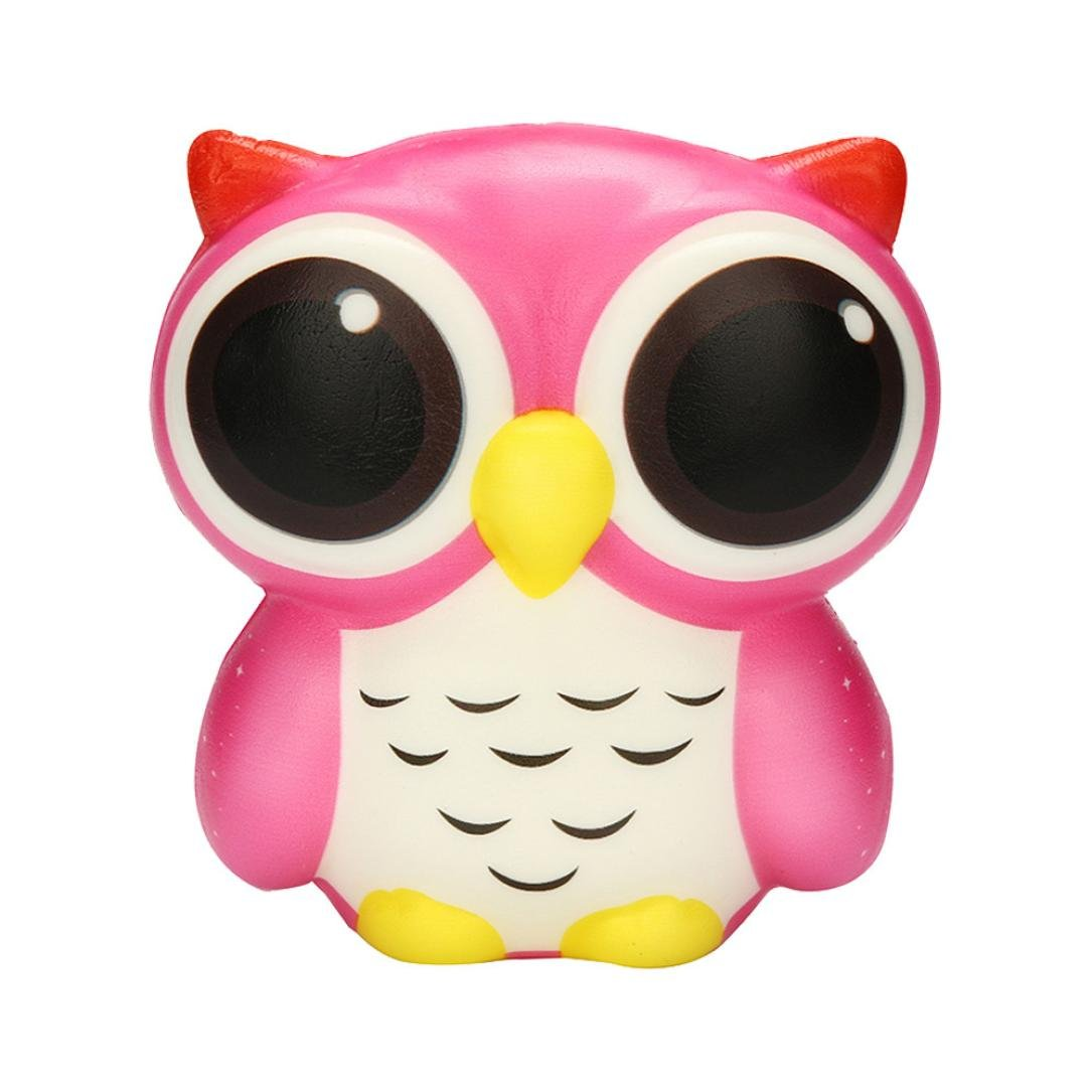Creazy Adorable Owl Squishy Slow Rising Cartoon Doll Cream Scented Stress Relief Toy (Pink)
