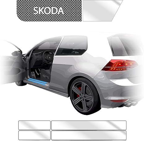 SET für SKODA FABIA 2 Kombi Einstiegsleisten Ladekantenschutz 3D Carbon Schwarz