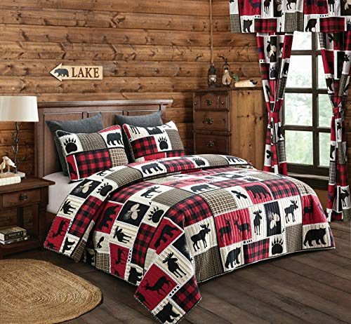 Virah Bella Lodge Life 3pc King Quilt Set, Black Bear Paw Moose Cabin Red Buffalo Check Plaid (Bedspread Cabin)