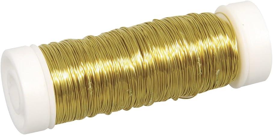 Rayher 2405506 Schmuck Häkeldraht, gold, 0,30 mm ø, Spule 50 m, Schmuckdraht, Messingdraht, zum Basteln von Schmuck und Edelsteinbäumchen