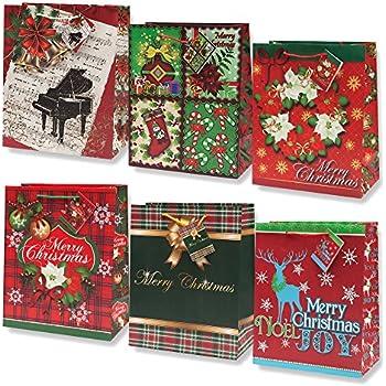 Amazon Com 12 Christmas Gift Bags Medium Bulk Assortment