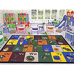 "Ottomanson Jenny Collection Children's Multi Color Educational Alphabet (Non-Slip) Kids Classroom Area Rugs, 5'0"" X 6'6"", Multicolor"