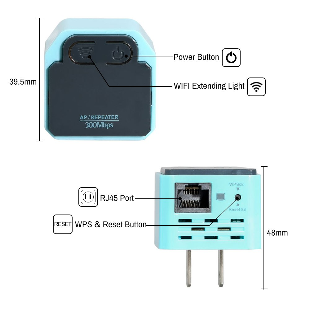 110 USA Plug KOLSOL WRD-300G WIFI Extender 300Mps Wireless Repeater AP 2.4Ghz Wi-Fi Extender for the House