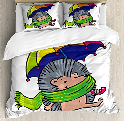 Ambesonne Hedgehog Duvet Cover Set Queen Size, Smiling Animal with Spikes and Scarf Rainbow Colored Umbrella Walking Winter Theme, Decorative 3 Piece Bedding Set with 2 Pillow Shams, Multicolor (Multi Coloured Scarf)