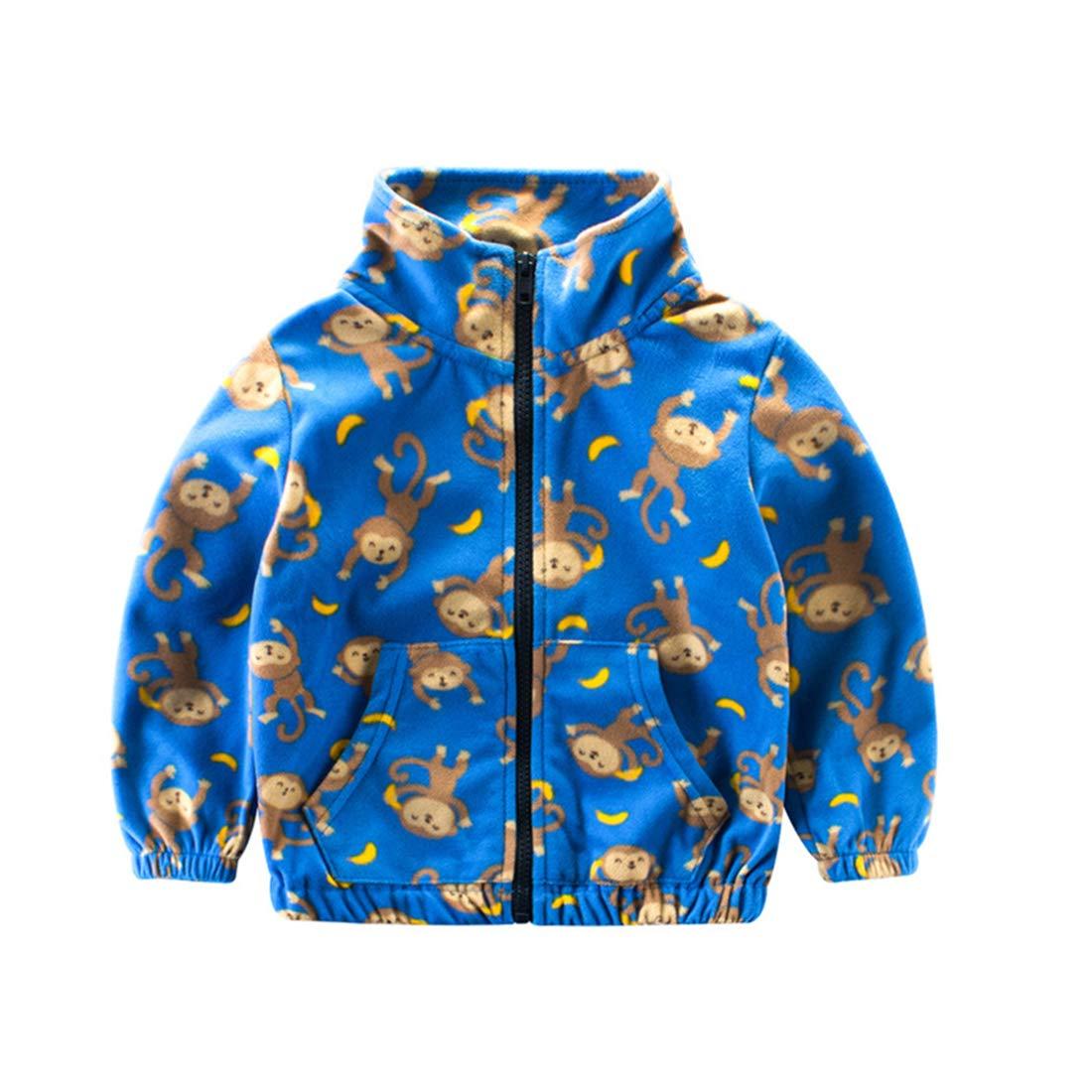 AIKSSOO Kid Casual Outerwear Toddler Boy Fleece Coat Monkey Print Zip Front Jacket