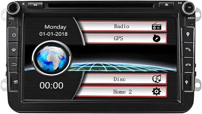 Estéreo de coche con Bluetooth, Eunavi Doble 2 Din 8 Pulgadas Car GPS de navegación En Dash Radio Reproductor de DVD Pantalla táctil Unidad de cabeza para VW Passat t5 Golf MK5