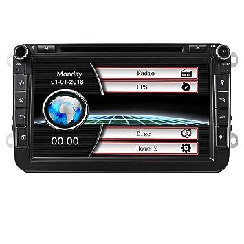 Estéreo de coche con Bluetooth, Eunavi Doble 2 Din 8 Pulgadas Car GPS de navegación En Dash Radio Reproductor de DVD Pantalla táctil Unidad de cabeza ...