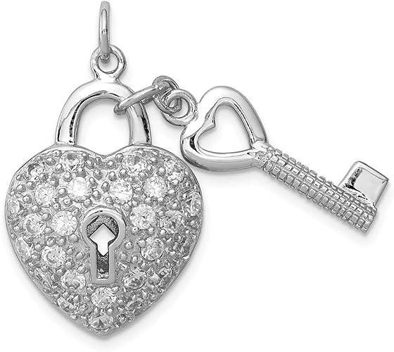 925 Sterling Silver Polished Lock /& Key Charm