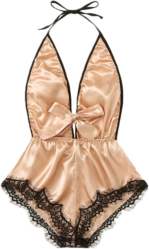 YKARITIANNA Sex Porno Erotic Women V-Neck Lace Stain Bow Lingerie Bodysuit Sleepwear Pajamas Silk Jumpsuit