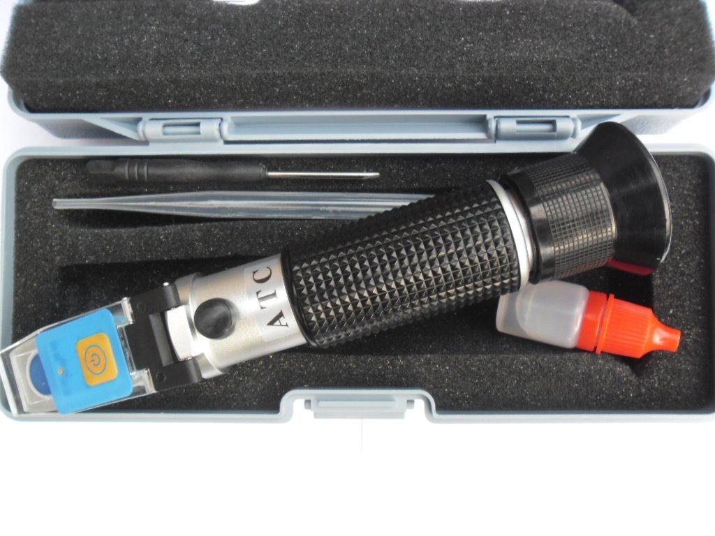 LED Refraktometer ADBLUE Frostschutz Scheibenwasser ATC Batteriesä ure Solaranlage Batterie KFZ mit KALIBRIERFLÜ SSIGKEIT 3033 FSR