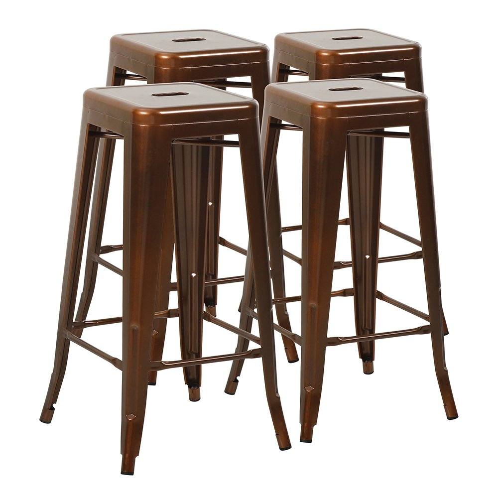 Furmax 30'' High Backless Metal Indoor-Outdoor Stackable Bar Stools with Square Seat, 30 Inches, Black