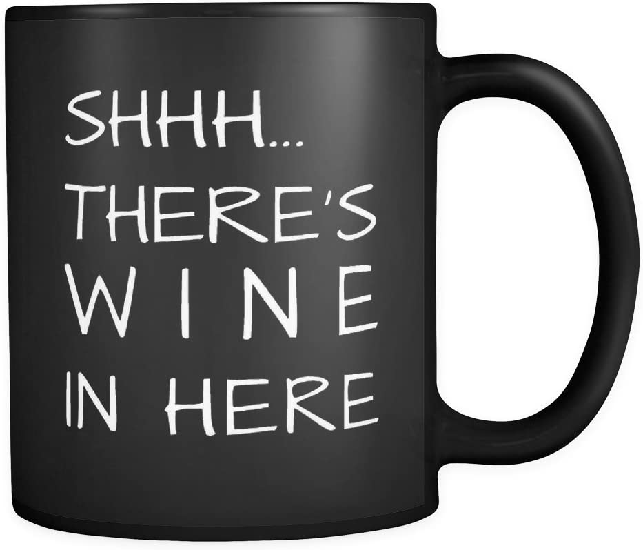 there/'s wine in here Purple Funny New Ceramic Coffee Mug Cup11oz White shhh..