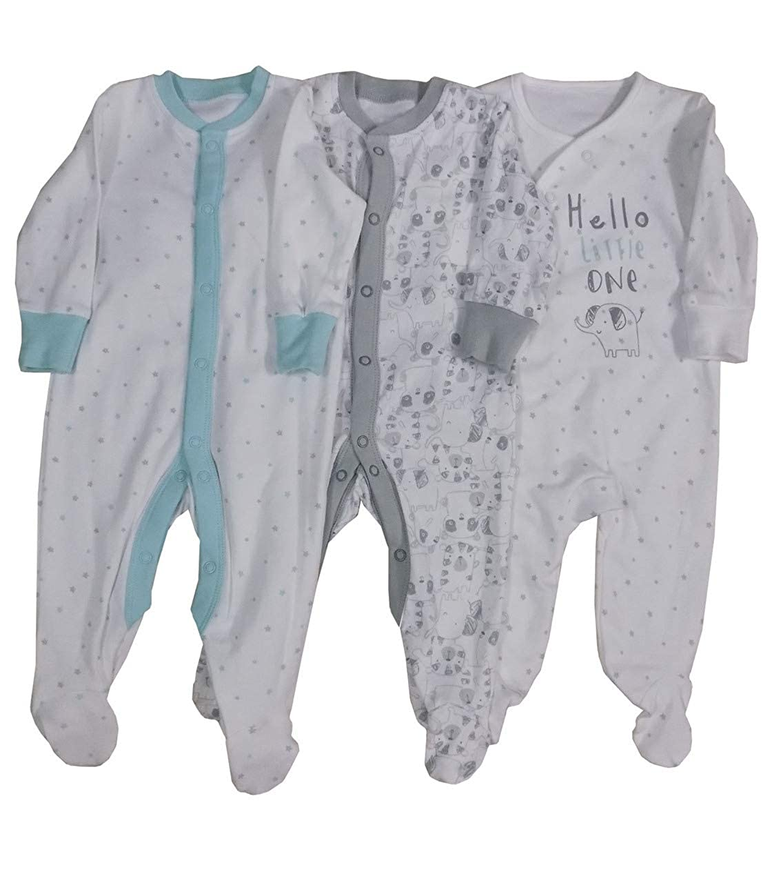 BABY BOYS GIRLS 3 PACK SLEEPSUITS EX STORE 100/% COTTON BABYGROWS 1-24M NEW
