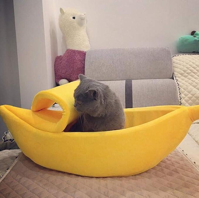 MYYDD Nido de plátano Creativo Cerrado Gato litera Perro Mascota Nido cálido Banana Boat Cat pequeño Nido de Mascota,Brown,XL: Amazon.es: Hogar