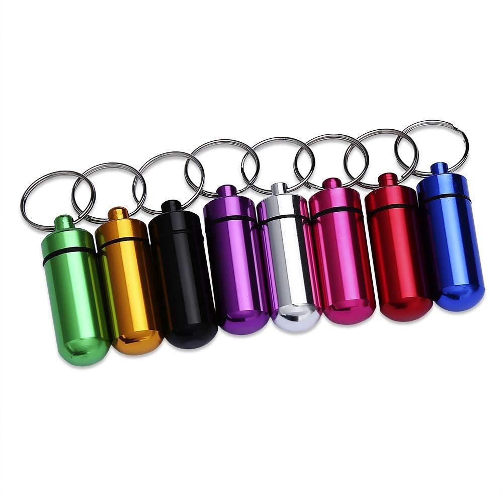 SHUFAGN,Botella de la Olla de la Medicina de la aleación de Aluminio con el Llavero Llavero portátil de la Emergencia al Aire Libre(Color:Rojo)