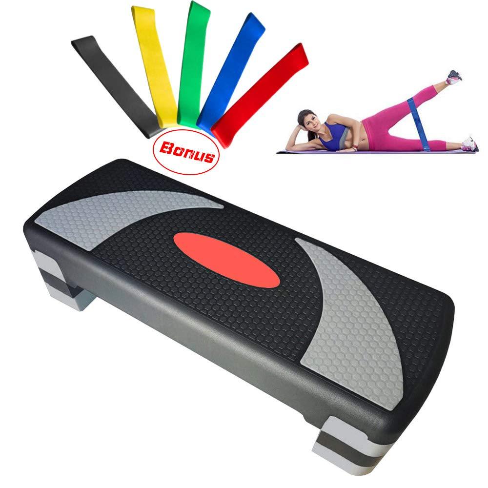 32'' Fitness Aerobic Stepper Trainer Adjustable Exercise Fitness Workout Stepper with Resistance Bands Set of 5 Adjust 4'' - 6'' - 8''