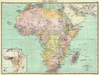 Cartina Giografica Africa.Africa Africa Mappa Generale Decorata Con Mappa Della Popolazione Della Mappa 1907 Antico Vintage Con Motivo Cartina Geografica Africa Amazon It Casa E Cucina