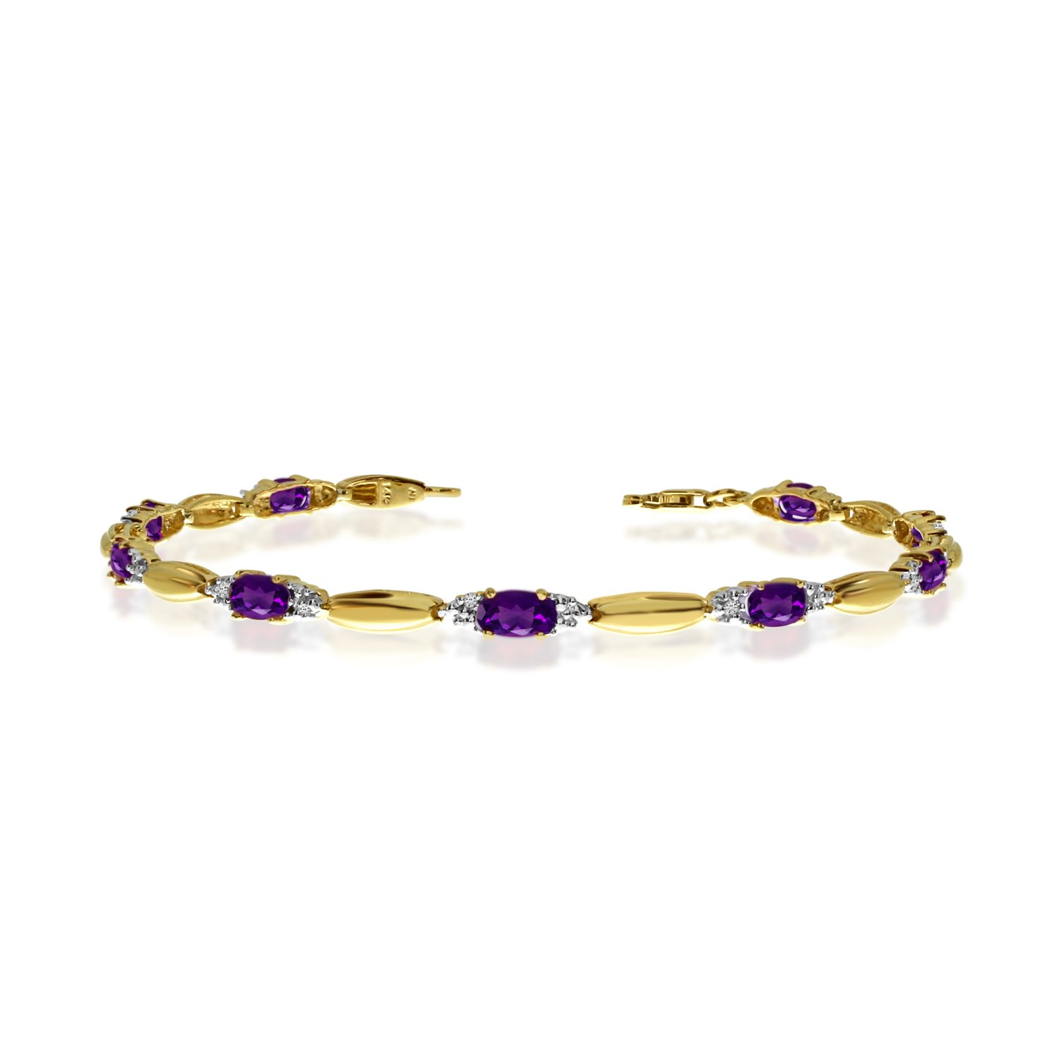 14K Yellow Gold Oval Amethyst and Diamond Bracelet (7 Inch Length)