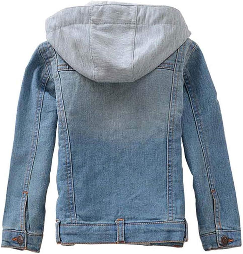 Coodebear Boys Girls Hooded Denim Jacket Zipper Outerwear Jean Coat 2-14 Years