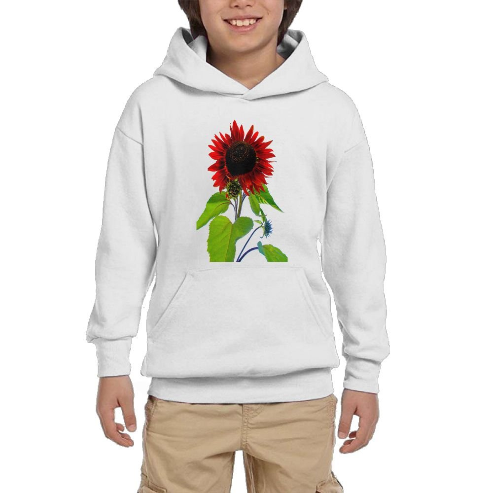 GLSEY A Red Sunflower Pattern Youth Soft Pullovers Hooded Sweatshirts Long Sleeve