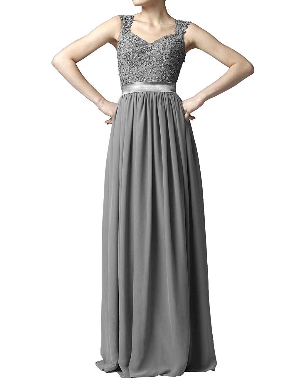 Steel Grey Women' Cap Sleeve Lace Bridesmaid Dresses Long Wedding Party Gowns