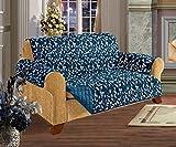 Quilted Pet Dog Children Kids Furniture Protector Slip Cover, Leaf Design Navy Love Seat