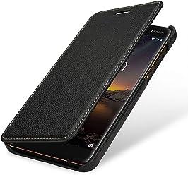 StilGut Book Type, Housse en Cuir pour Nokia 6.1. Etui de Protection en Cuir véritable pour Nokia 6.1 à Ouverture latérale, Noir