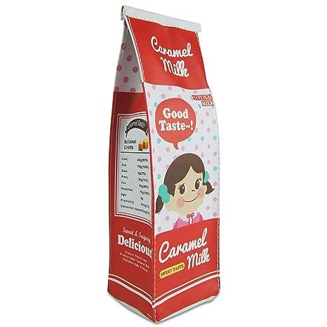 Godea - Estuche para lápices con cremallera y bolsa para bolígrafos, diseño de cartón de leche, color pink-1