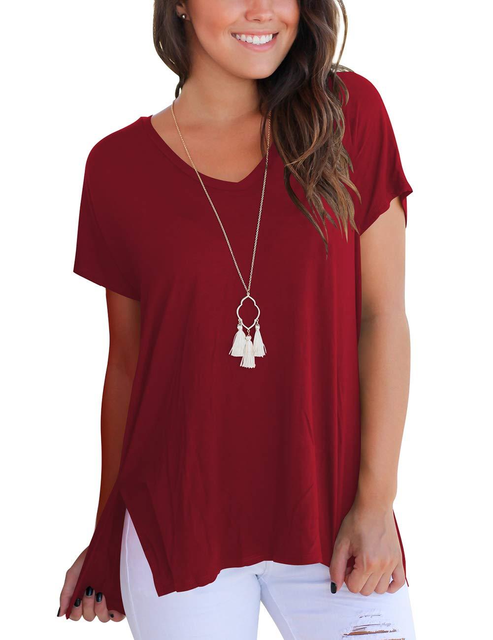 bfd126f77808 Short Sleeve T Shirt Women Cotton Basic Plain Loose Tee Tops with Split  Burgundy M