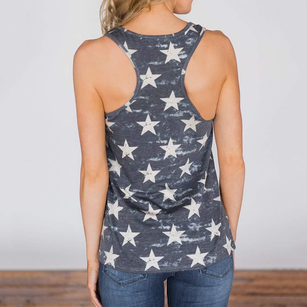 NEEKEY Fashions Womens Flag Tank 4th July Tanks USA Flag Stripe Printed Patriotic USA Flag Tops Shirts Blouse