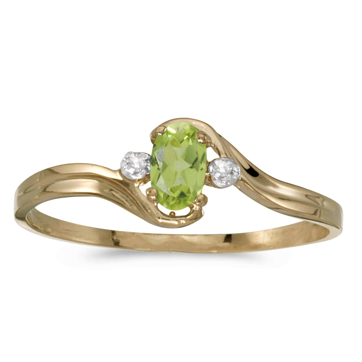 FB Jewels 14k Yellow Gold Genuine Green Birthstone Solitaire Oval Peridot And Diamond Wedding Engagement Statement Ring - Size 8 (1/5 Cttw.)